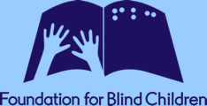 Image is FBC's logo. Cartoon of hands on a book, as if reading braille.