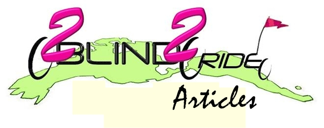 This is an image of the 2B2R Articles Logo. Description: Number 2 for Two and to to depict us and a thin font for Blind and Ride to depict the frame of the tandem and the trailer we will pull to carry our things.  2s are in fuchsia, font is black.  Background is a chartreuse cartoon map of North and South Americas.  Bottom is he word Articles.